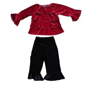 💗2-Piece Matching Velvet Outfit with Ruffles, 18m